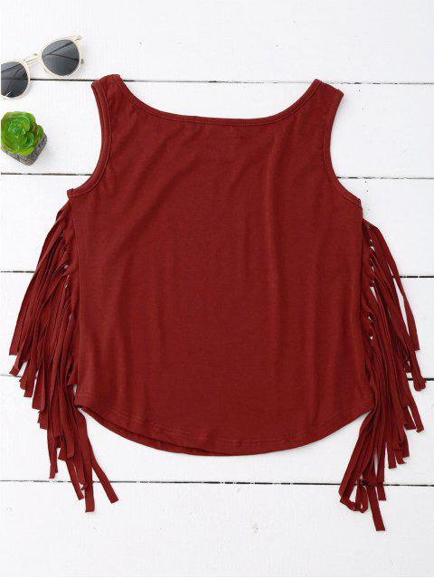 fashion Side Fringed Tank Top - WINE RED XL Mobile
