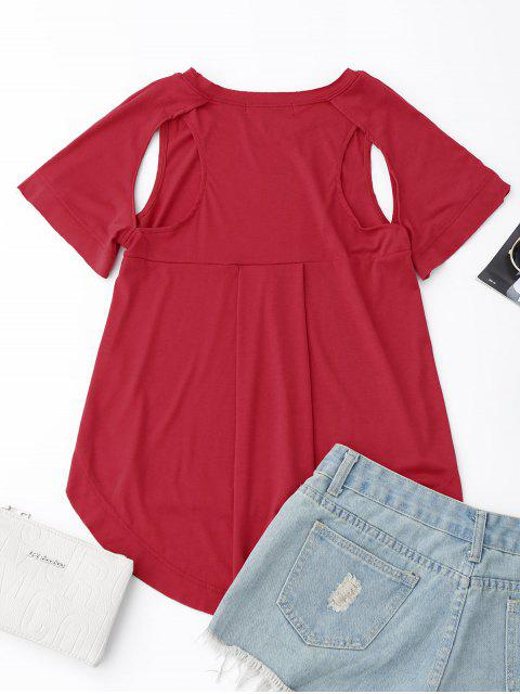 chic Cut Out High Low T-Shirt - RED L Mobile
