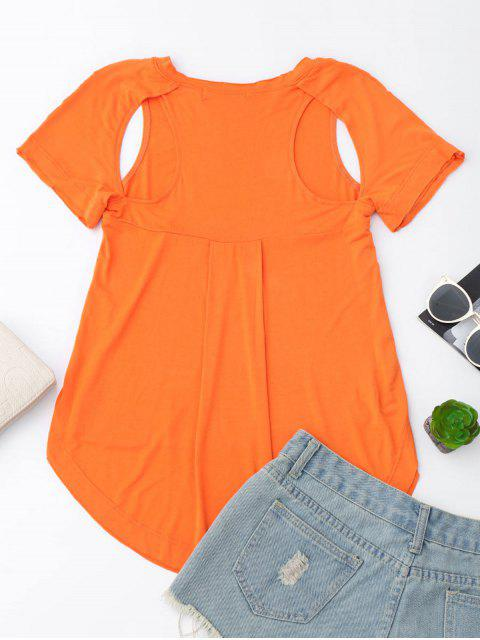 sale Cut Out High Low T-Shirt - ORANGE XL Mobile