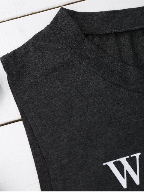 Top en manche sans manches graphique - Gris Noir XL Mobile