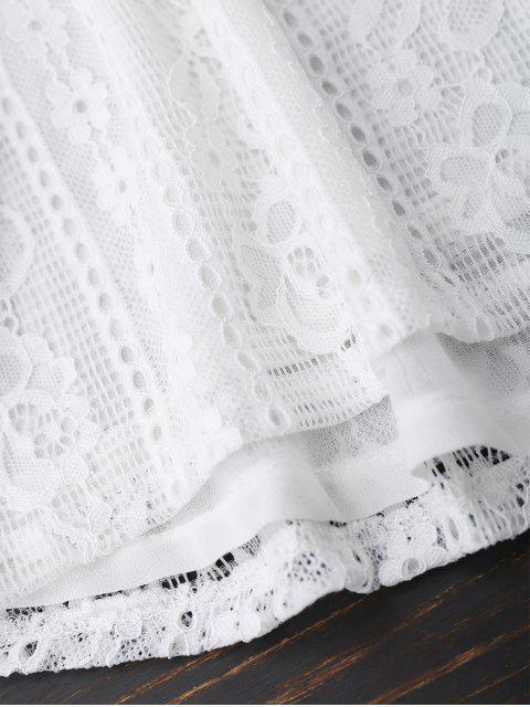 unique Off Shoulder Lace Tie Sleeve Crop Top - WHITE XL Mobile