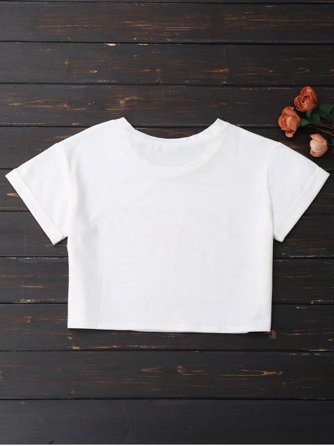 affordable Stop Crying Rose Crop Tee - WHITE XL Mobile