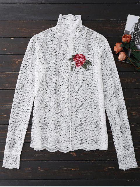 Top à encolure en dentelle florale - Blanc S Mobile
