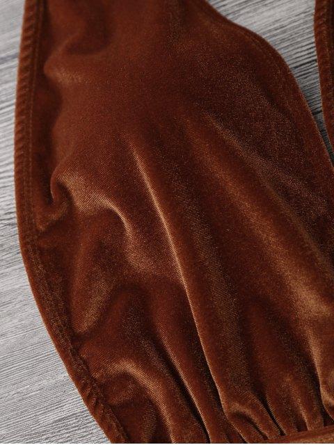 Maillot de Bain 1 Pièce en Velours Monokini à Col Halter - Brun Doré L Mobile