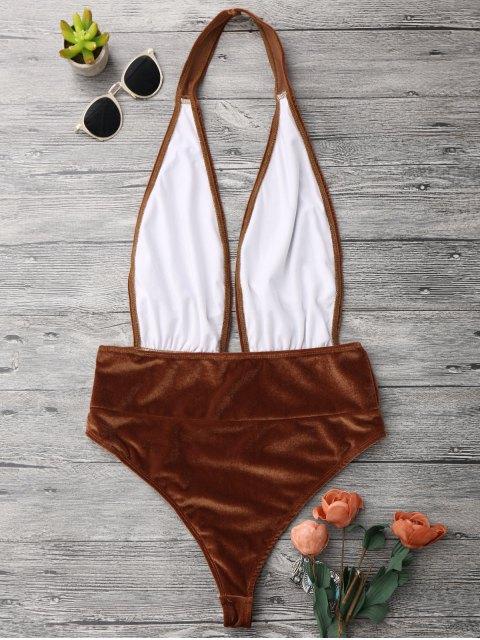 shop Halter Pretzel Monokini One Piece Swimsuit - GOLD BROWN S Mobile