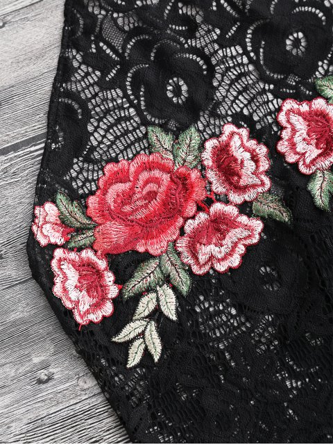 Nuisette Sexy dentelle halter embelli patchwork floral - Noir XL Mobile