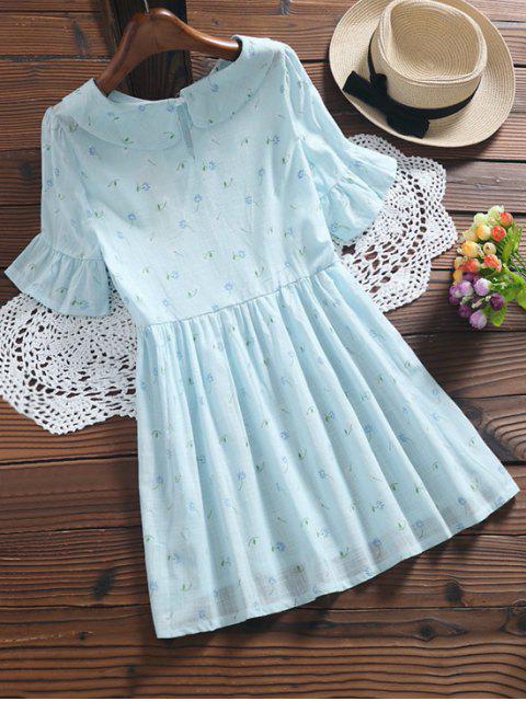 sale Floral Smock Peter Pan Collar Dress - LIGHT BLUE M Mobile