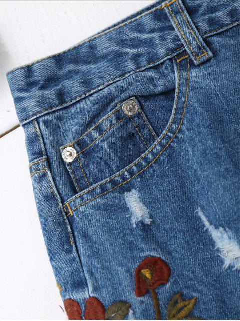 hot Floral Embroidered Frayed Hem Denim Skirt - DENIM BLUE S Mobile