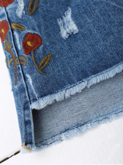 Jupe en daim brodé brodé floral bordé - Denim Bleu L Mobile