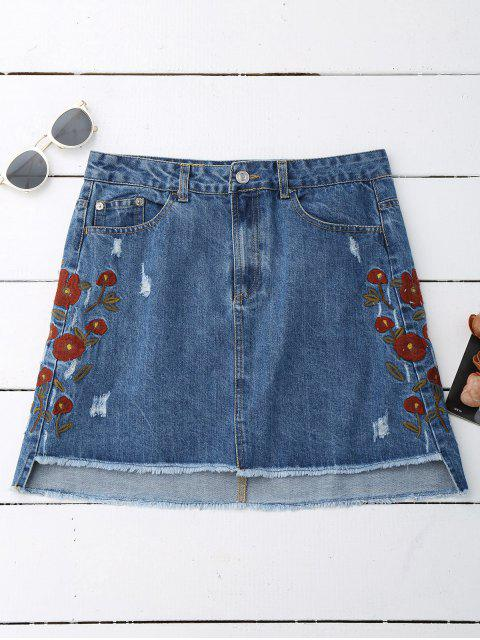 outfits Floral Embroidered Frayed Hem Denim Skirt - DENIM BLUE L Mobile