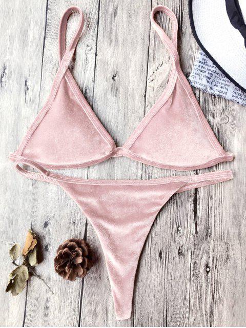 Traje de Bikini con Thong de Tirant Fino de Terciopelo con Cordón - Rosado M Mobile