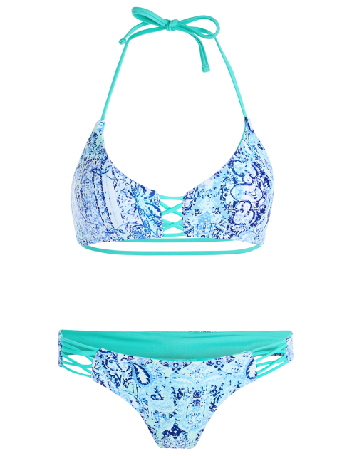 fashion Halter Double Side Strappy Printed Bikini Set - BLUE S Mobile
