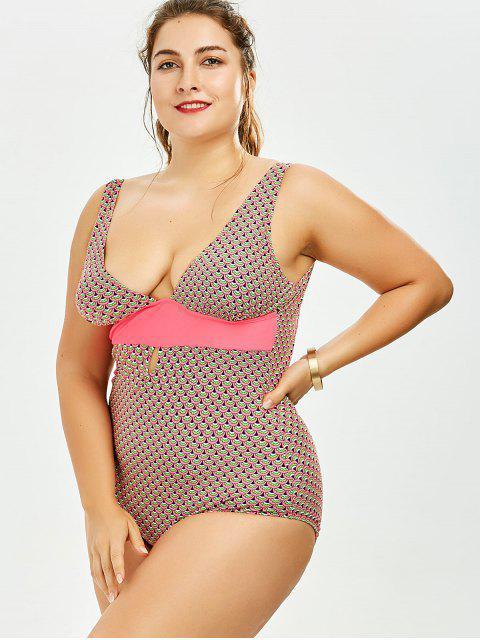 online Backless Print Plus Size One Piece Swimsuit - COLORMIX 2XL Mobile