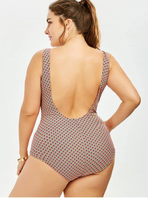 hot Backless Print Plus Size One Piece Swimsuit - COLORMIX 4XL Mobile