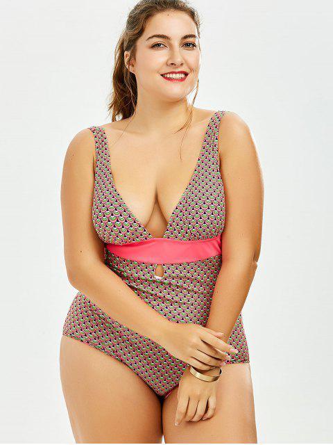Backless Print Taille supérieure Maillot de bain en une pièce - Multicolore 5XL Mobile