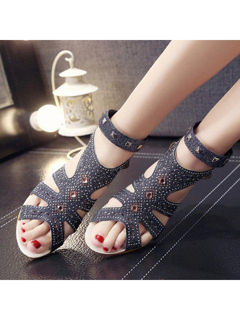 fashion Rhinestones Zipper Rivets Sandals - BLACK 38 Mobile