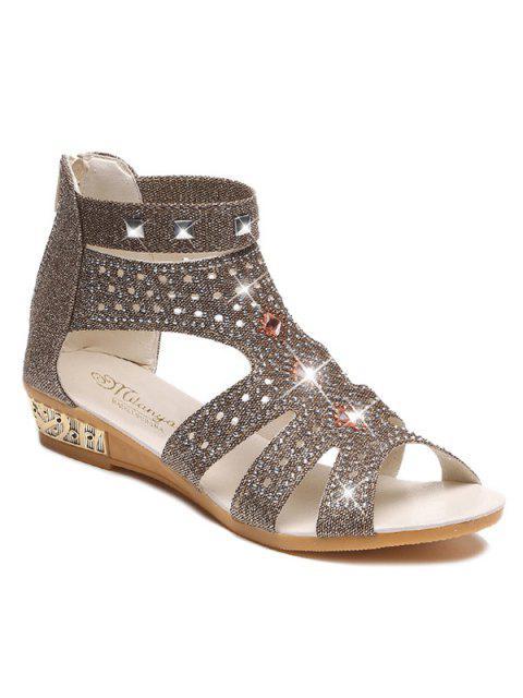 fancy Rhinestones Zipper Rivets Sandals - GOLDEN 39 Mobile