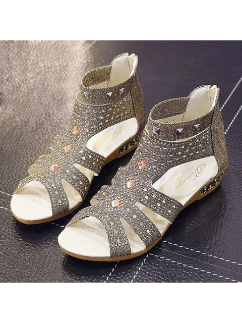 affordable Rhinestones Zipper Rivets Sandals - GOLDEN 38 Mobile