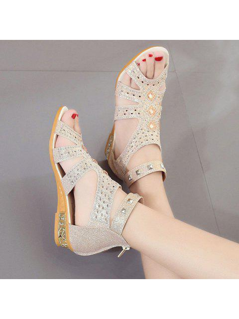 women Rhinestones Zipper Rivets Sandals - APRICOT 37 Mobile