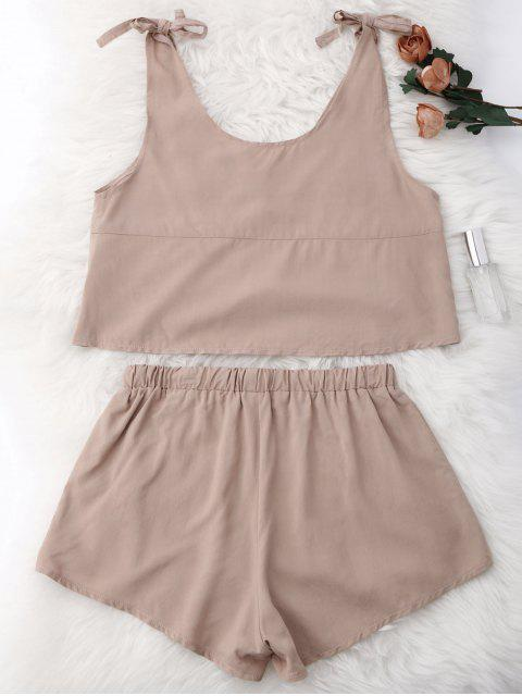 lady Drawstring Lace Applique Loungewear Suit - NUDE L Mobile