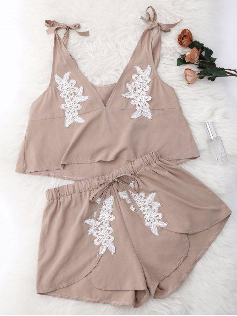 best Drawstring Lace Applique Loungewear Suit - NUDE M Mobile