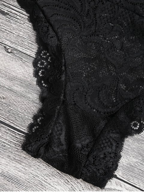 outfits Sheer Lace Plunging Neck Teddy Lingeries - BLACK L Mobile