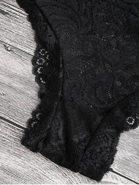 shop Sheer Lace Plunging Neck Teddy Lingeries - BLACK M Mobile
