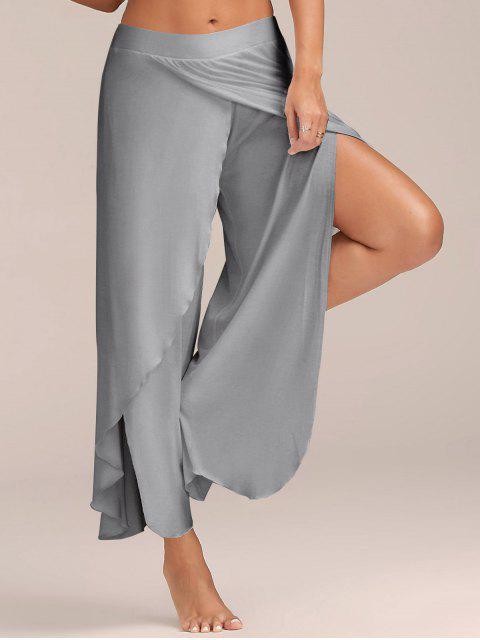 Alto Slit Flowy capas pantalones Palazzo - Gris Claro XL Mobile