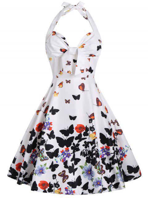 Neckholder Druck A Linie Kleid mit Schmetterlings - Weiß 2XL Mobile