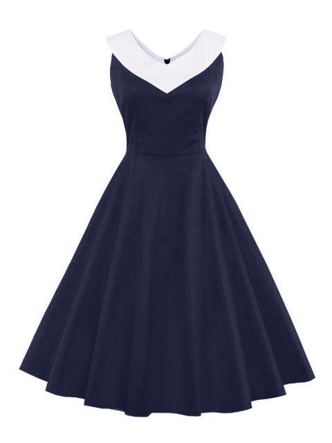 V-Ausschnitt Vintage lässiges Kleid - Schwarzblau S Mobile