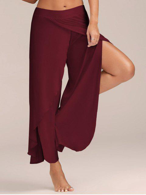 outfit High Slit Flowy Layered Palazzo Pants - WINE RED 2XL Mobile