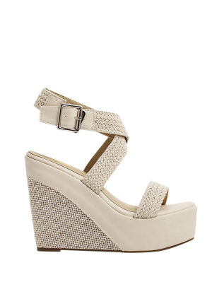 Weaving Cross-Strap Wedge Heel Sandals - Apricot 35