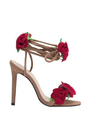 Rose Lace-Up Stiletto Heel Sandals - Apricot 40