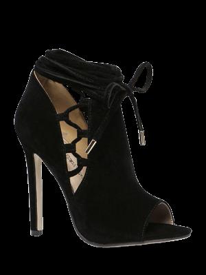 Hollow Out Flock Black Peep Toe Shoes