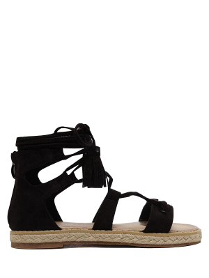 Tassels Lace Up Espadrilles Sandals - Black 37