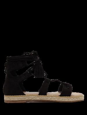 Tassels Lace Up Espadrilles Sandals - Black 38