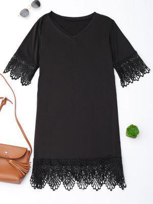 V Neck Lace Hem T-Shirt Dress - Black M