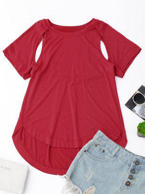 Camiseta Alta Baja Del Recorte - Rojo L