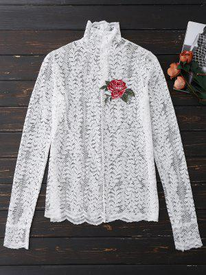 Parte Superior Floral Do Laço Do Laço Floral - Branco S