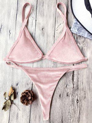 Ensemble Cami Bikini String Tanga En Velours - Rose PÂle M