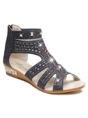 Rhinestones Zipper Rivets Sandals - Black 37