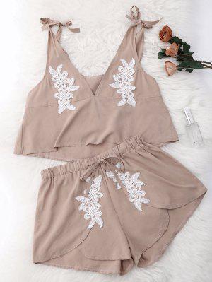 Drawstring Lace Applique Loungewear Suit - Nude M