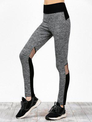 Mesh Panel Farbblock High Waisted Sweatpants