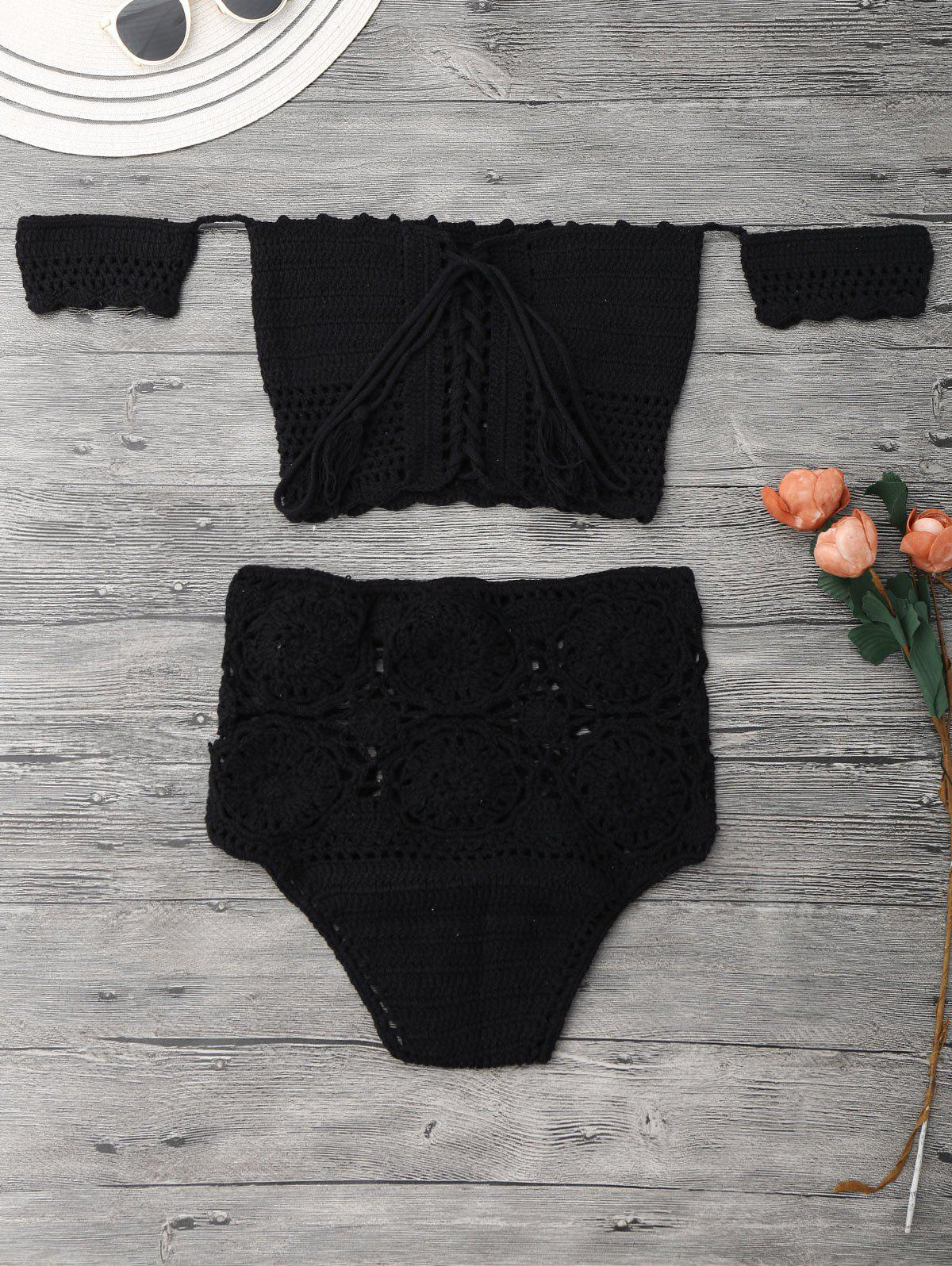 Off Shoulder High Waisted Crochet Bikini 211484705