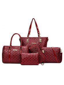 طقم حقيبة يد مزخرف من 5 قطع - أحمر