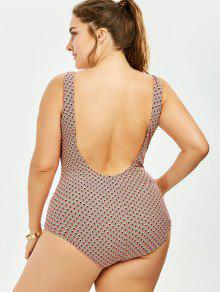 14427f1a8d 34% OFF] 2019 Backless Print Plus Size One-piece Swimsuit In ...