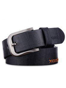 كاوبوي نمط الخياطة الموضوع مزين حزام واسعة - أسود