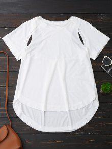 Cut Out High Low T-Shirt - White M