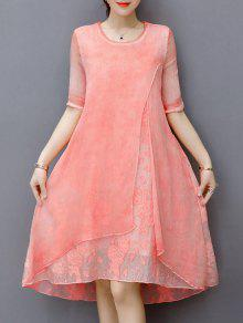 فستان مطرز طبقات بخط A - وردي فاتح M