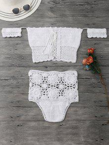 Off Shoulder High Waisted Crochet Bikini - White S